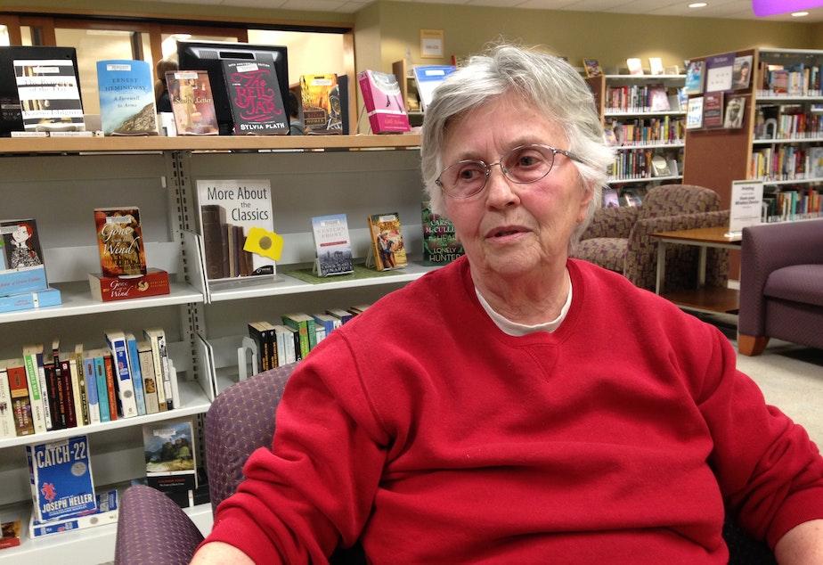 caption: Darrington resident Mathalie Meracle spoke to KUOW's Phyllis Fletcher at the Darrington Library on Monday.