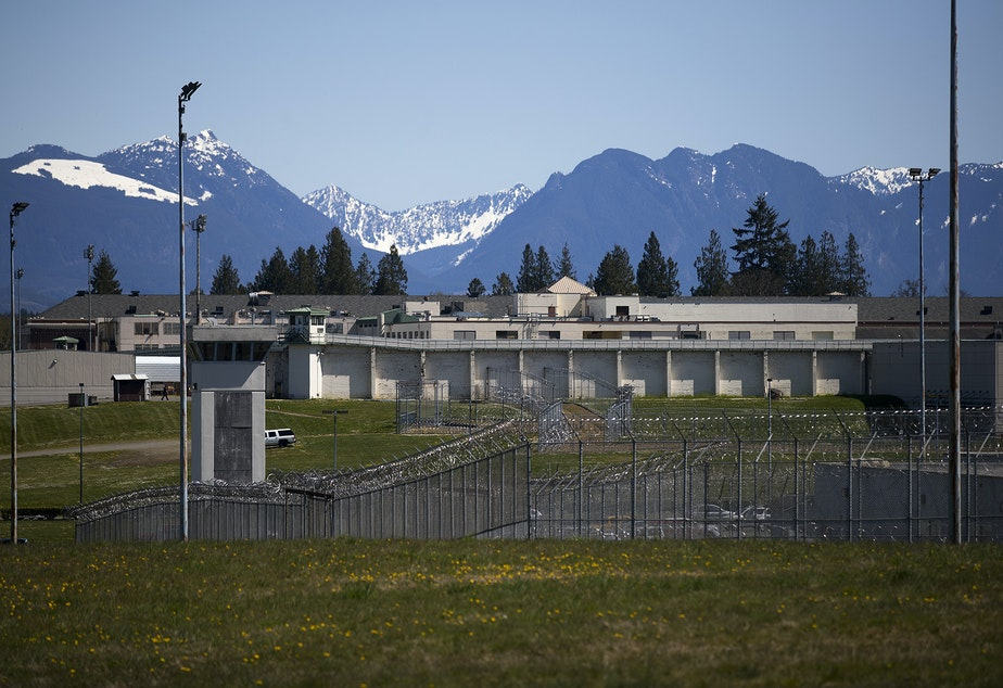 caption: The Monroe Correctional Complex is shown on Thursday, April 16, 2020, in Monroe. Three separate protest caravans demanding safety and clemency for incarcerated individuals arrived at the Monroe Correctional Complex, Purdy and the Governor's Mansion at noon on Thursday.