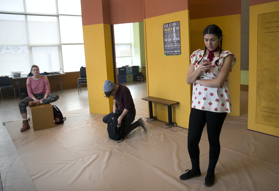 caption: From left, Martha Kathryn Smith, Dylan Zucati and Sofía Raquel Sánchez rehearse the play 'Ghosted,' by Trista Baldwin on Wednesday February 13, 2019, at the Seattle Children's Theatre in Seattle.