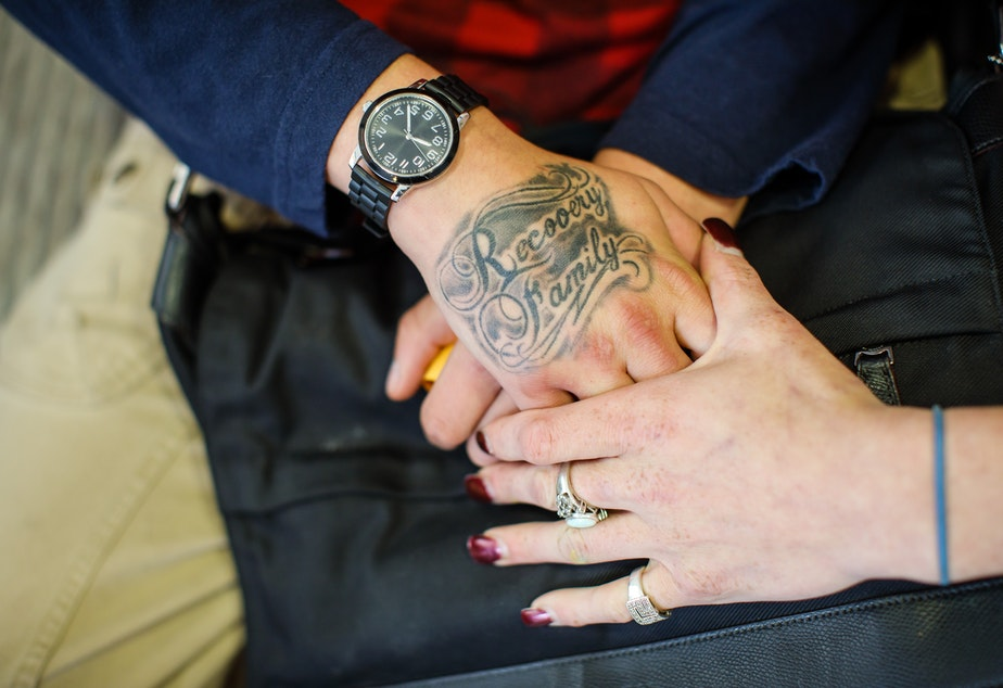 A tattoo on a patient's hand at the Ideal Option clinic in Everett, Wash. (Finding Fixes)