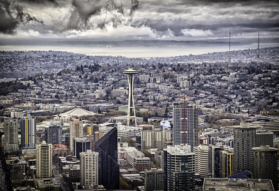 caption: Seattle on a rainy day, including the Space Needle, in November 2014.