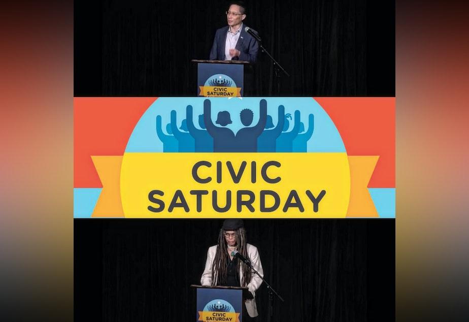 caption: Citizen University Co- Founder Eric Liu and Seattle Civic Poet Jourdan Imani Keith