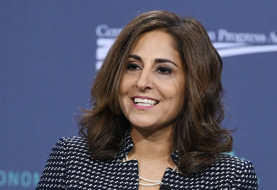 caption: Neera Tanden, president and CEO of the Center for American Progress, speaks at a forum on wages and working people on April 27, 2019. President-elect Joe Biden is nominating Tanden to run the Office of Management and Budget.