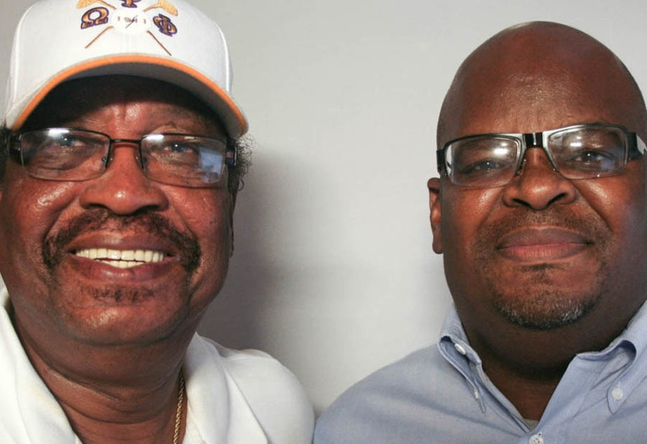 caption: The late Rev. Farrell Duncombe (left) spoke with his friend Howard Robinson for a StoryCorps conversation in 2010 about how his role models helped shape him as a leader in his Alabama community.