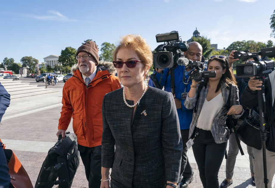 caption: Former U.S. ambassador to Ukraine Marie Yovanovitch, testified Oct. 11 as part of the House impeachment inquiry into President Trump. The full transcript of her testimony was released Monday.