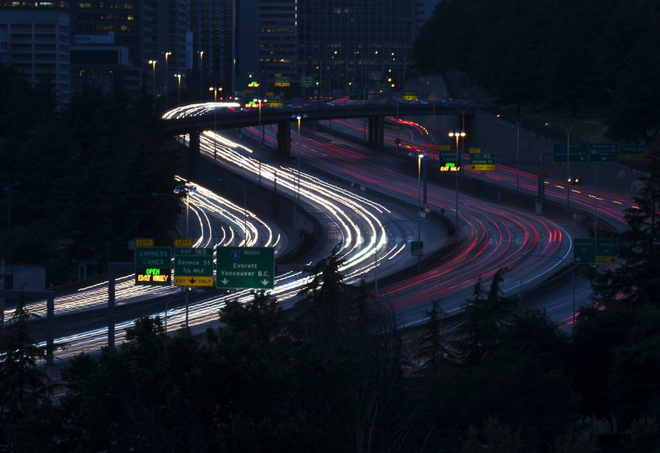caption: Evening traffic on Interstate 5 in Seattle in 2017