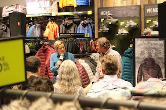 KUOW's Ashley Ahearn and mountaineer Dave Hahn speak at Eddie Bauer store in University Village on October 28, 2016.