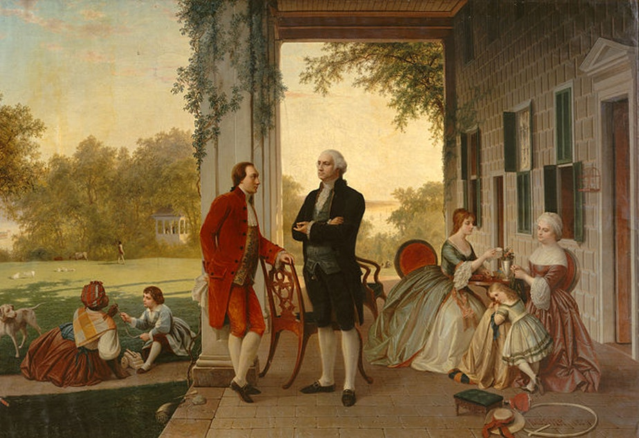 caption: Washington and Lafayette at Mount Vernon, 1784, by Thomas Prichard Rossiter and Louis Rémy Mignot.