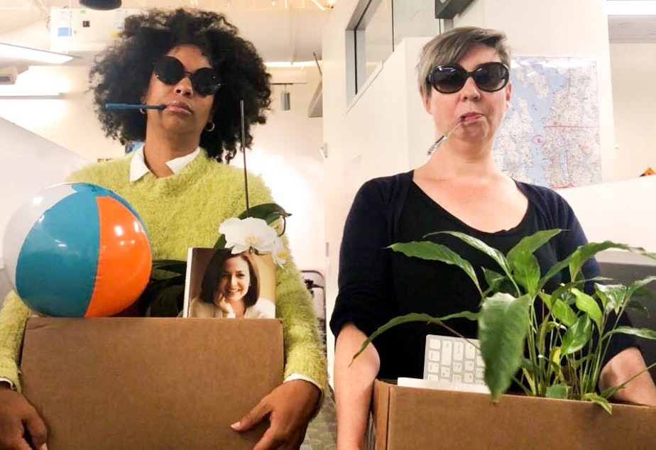 caption: Hosts Eula Scott Bynoe, left, and Jeannie Yandel practice quitting their jobs, Peggy Olson style. (But don't worry, they're not actually going anywhere.)