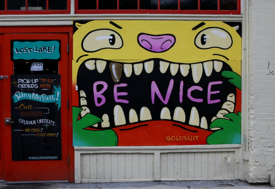 """caption: A """"be nice"""" mural at Lake City Cafe by Goldsuit (@goldsuit)"""