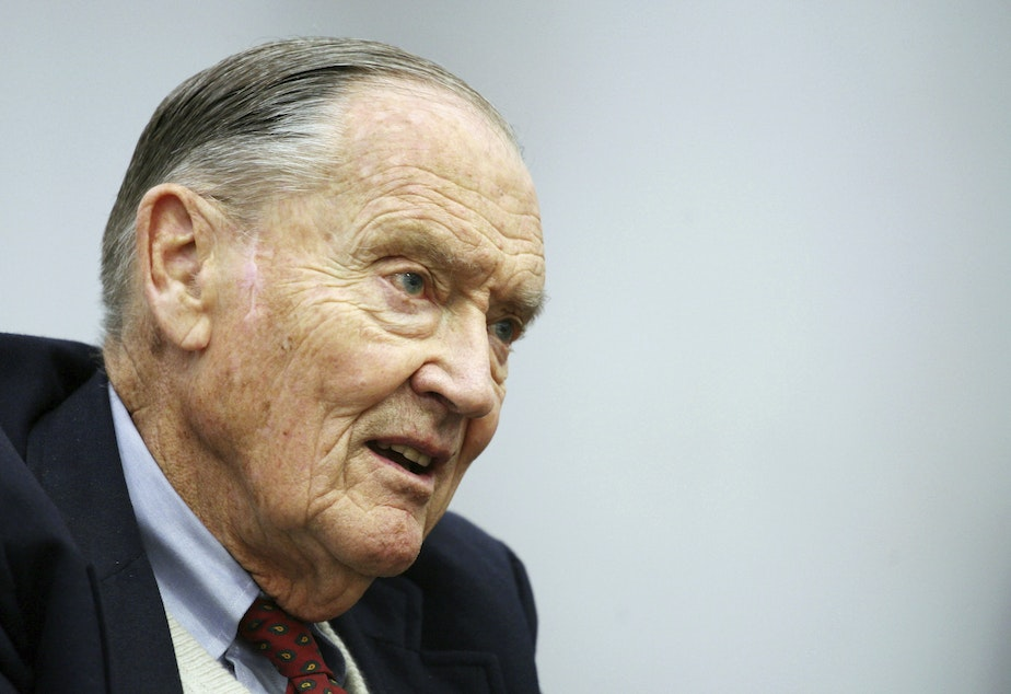 In this Tuesday, May 20, 2008, file photo, John Bogle, founder of The Vanguard Group, talks during an interview with The Associated Press, in New York.