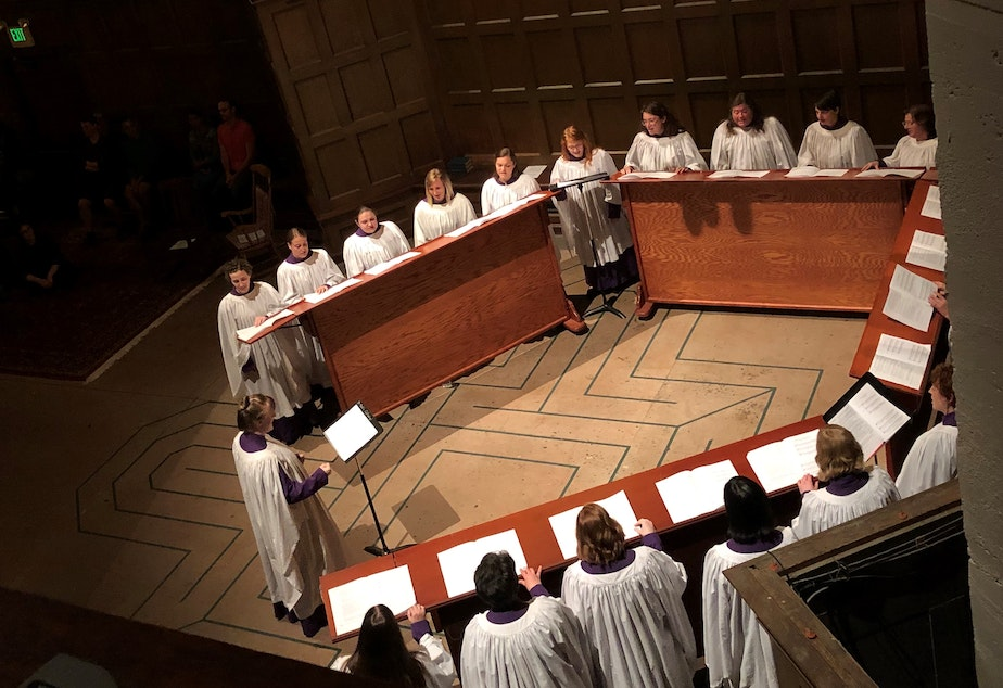 caption: Rebekah Gilmore leads first-ever Women's Compline Choir at St. Mark's Cathedral in Seattle.
