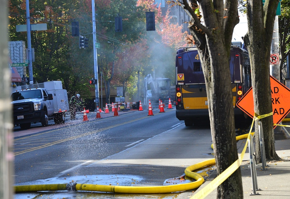caption: A gas leak in Seattle's University District resulted in an evacuation order for surrounding blocks. The mist in the distance of this image is water vapor cooled by natural gas spewing from underground.