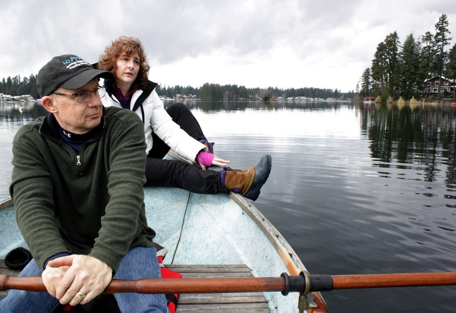 caption: Bill and Cindy Wheeler have lived on Black Diamond's Lake Sawyer for 30 years, but they don't know the weir master.