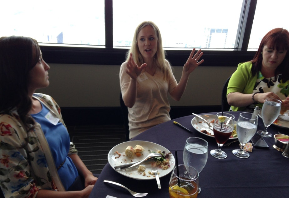 Katey Cooper, Jessica Jordan and  Stesha Ries (left to right) trade ideas at the Women and Cannabis Business luncheon.