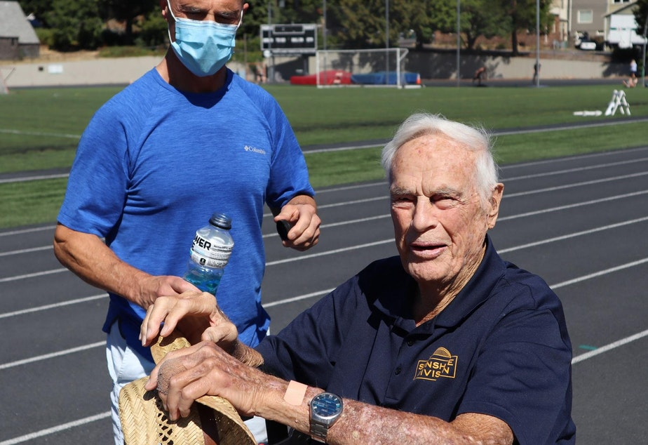 caption: Bud Lewis accomplished his 100 Laps To 100 Years feat ahead of schedule - and kept on walking.
