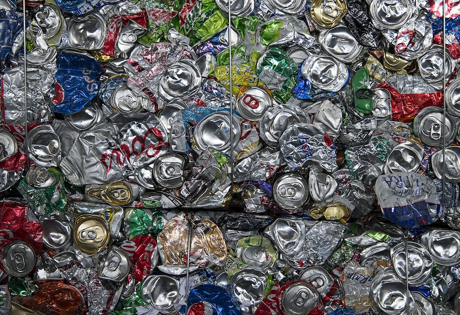 A bale of flattened soda cans is shown on Friday, October 26, 2018, at Cascade Recycling Center in Woodinville.