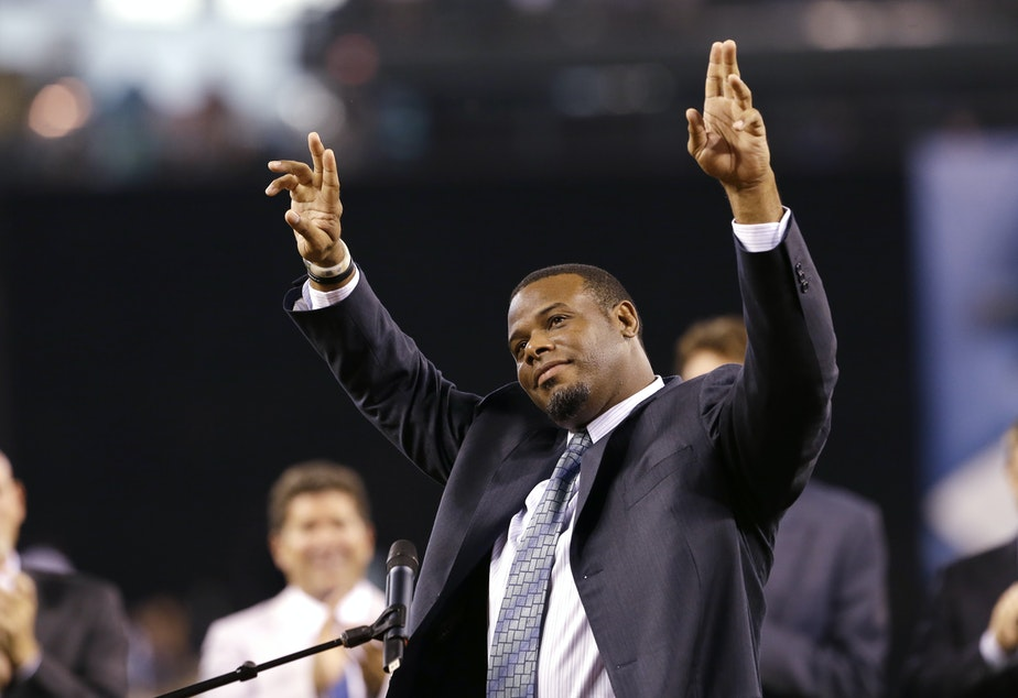 Former Seattle Mariners outfielder Ken Griffey Jr.waves to fans during a pregame ceremony to induct him into the team's Hall of Fame, Aug. 10, 2013. Griffey was voted into the MLB's Hall of Fame on Jan. 6, 2016.
