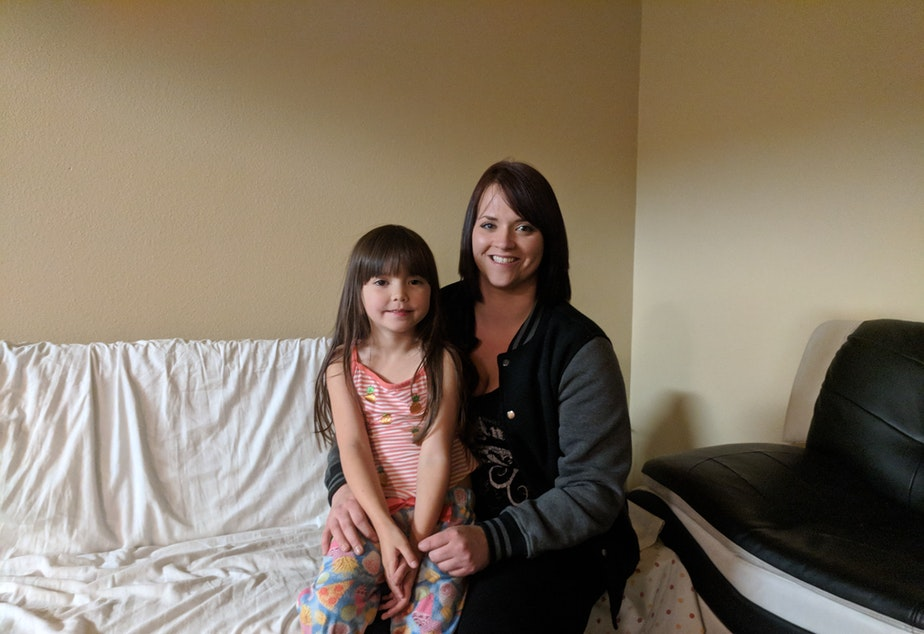 Taigan Conway and her five-year-old daughter, Journey  in their new apartment.
