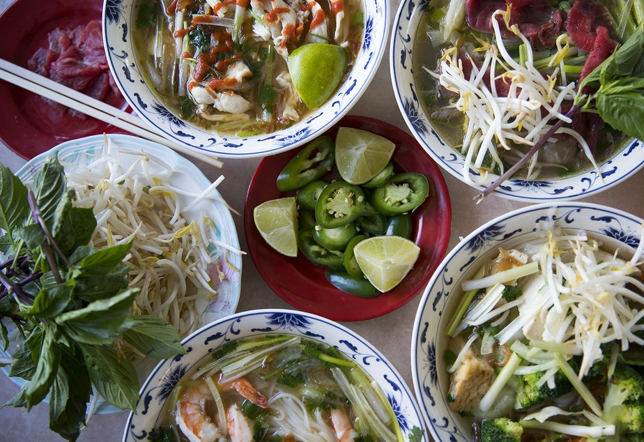 All of these tasty pho dishes were prepared at Pho Bac in Seattle. Tap to see more deliciousness up close.