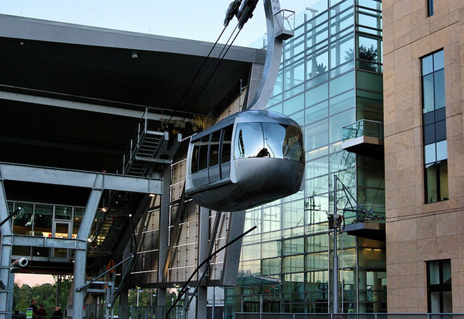 Traveling at 22 mph, the Portland Aerial Tram carries passengers between the Oregon Health and Science University Hospital and the South Waterfront District in Portland.