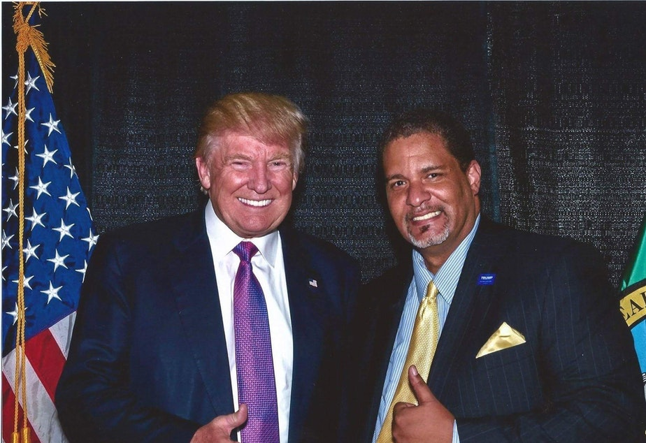 caption: President Donald Trump with Tony Barger.