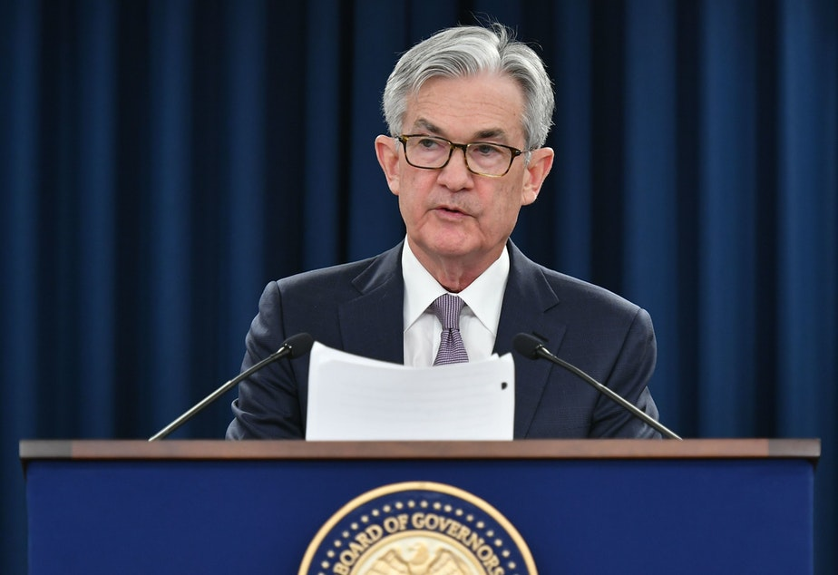 caption: Federal Reserve Chairman Jerome Powell says while the coronavirus is likely to cause Depression-era levels of unemployment, the economy should recover faster than it did in the 1930s.