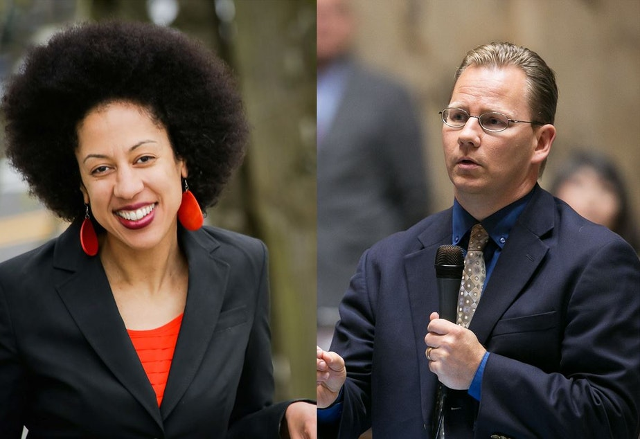 caption: Erin Jones, left, and Chris Reykdal are running for state schools chief in Washington state. Jones has been under fire for her comments on gender curriculum.