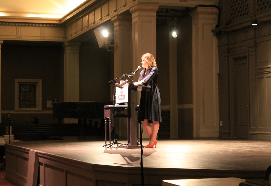 caption: Maria Semple at Town Hall Seattle