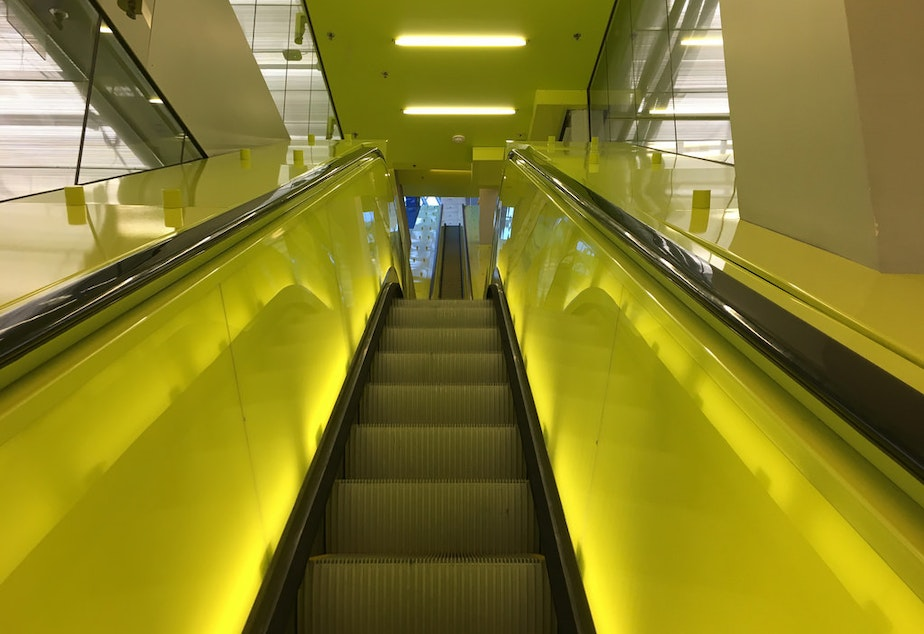An escalator inside the Seattle Public Library in downtown Seattle