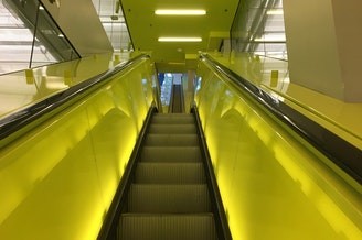 An escalator inside the Seattle Public Library in downtown Seattle