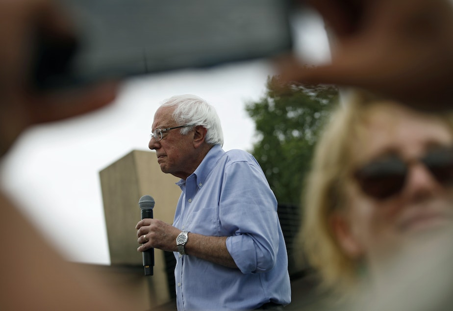 caption: Democratic presidential candidate Sen. Bernie Sanders, seen at the Iowa State Fair on Sunday, is lashing out at <em>The Washington Post </em>over coverage of his presidential campaign.