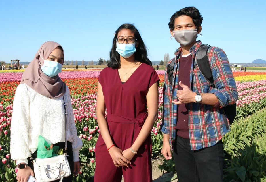 caption: Visitors from Indianapolis at TulipTown, April 2021. After visiting the farms, they'll visit the Olympic Peninsula and Seattle. But the tulip farms are what drew them here.