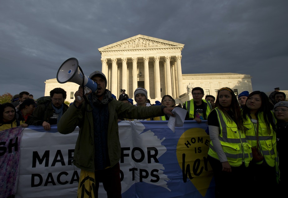 caption: Demonstrators arrive in front of the U.S. Supreme Court during a march in support of Deferred Action for Childhood Arrivals (DACA) on Nov. 10.