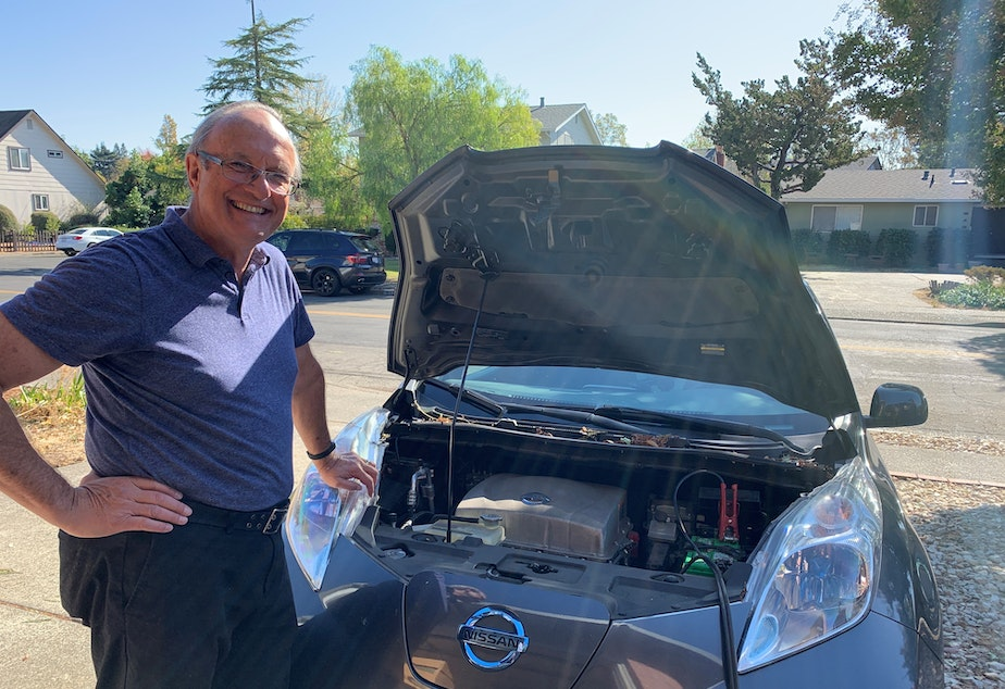 caption: Clarence Dold used his 2013 Nissan Leaf to power his house during a four-day blackout in Santa Rosa, Calif., as a result of the Kincade Fire.