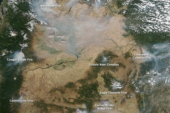 This photo from Aug. 16, 2015 shows several of the wildfires being fought in Washington and Oregon.