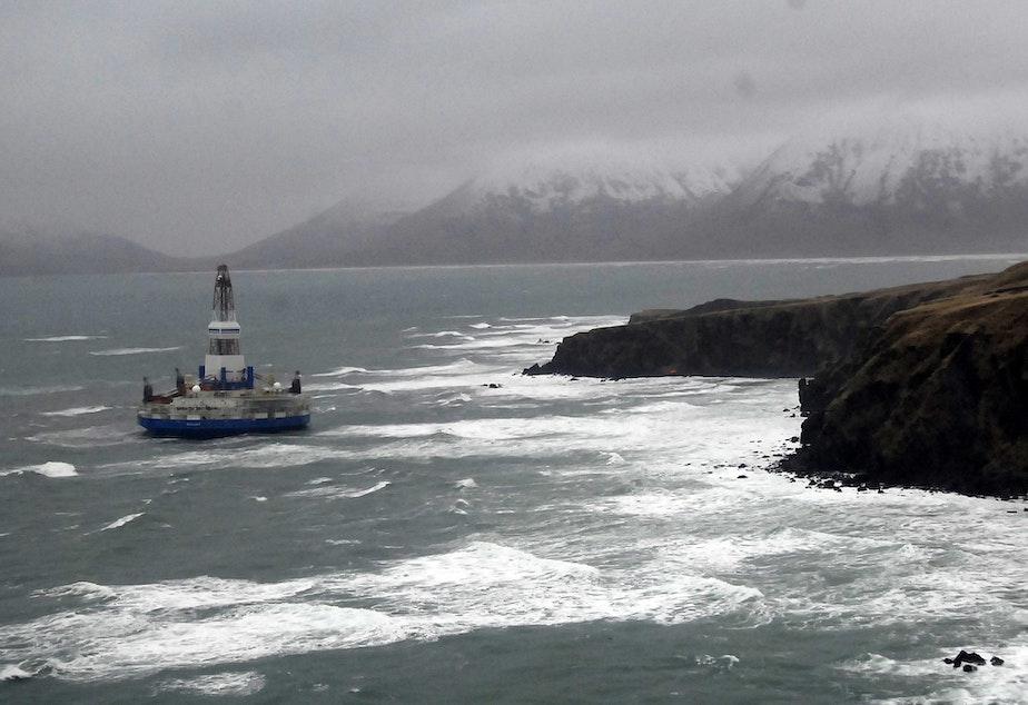 Shell Oil's Kulluk drill rig, hard aground off Alaska's Sitkalidak Island in January 2013