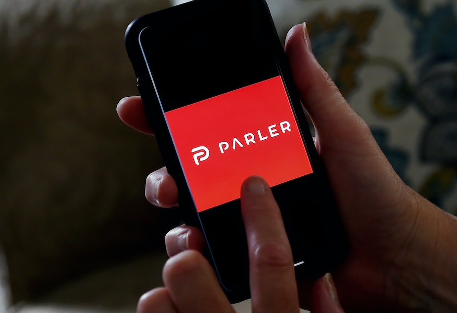 caption: The messaging app Parler has been offline since Amazon set a deadline of 11:59 p.m. PST on Sunday and then suspended its account.