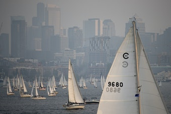 Sailboats crowd Lake Union during Duck Dodge on Tuesday, August 14, 2018, as seen from Gas Works Park in Seattle. Seaplanes do not land on Lake Union during Duck Dodge.