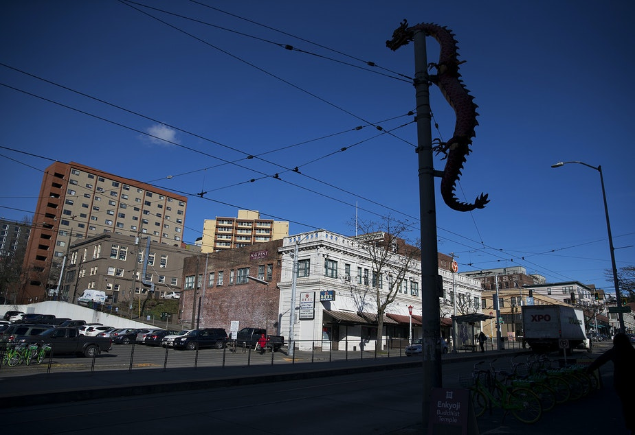 A view of the Chinatown International District is shown on Thursday, February 21, 2019, near the intersection of 5th Avenue and South Jackson Street in Seattle.