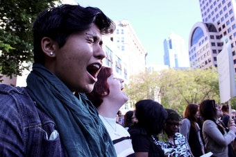 A file photo from 2014, when a group of women organized a six-second scream at Westlake Center in response to shootings at the University of Santa Barbara. The shooter had written a 140-page misogynist manifesto. This was before #metoo, when the hashtag was #YesAllWomen.