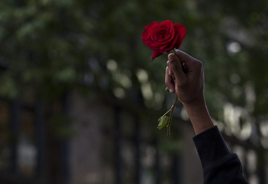 caption: Chazz Daniels holds a rose in the air as several hundred people gathered in a peaceful protest march from Westlake Park to Seattle City Hall on Monday, June 1, 2020, in Seattle. Protesters later marched to the Seattle Police Department's East Precinct building where tear gas and flash bang grenades were deployed.
