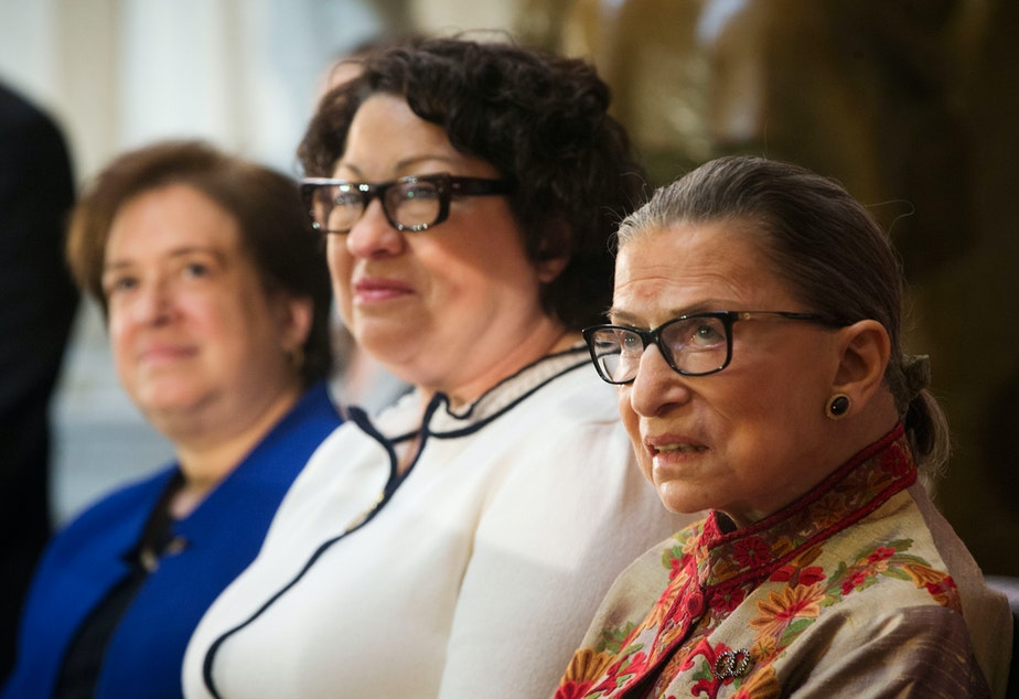 caption: Four women have served as U.S. Supreme Court Justices since 1789. Elena Kagan, Sonia Sotomayor and Ruth Bader Ginsburg (photographed in 2015) are three of them.
