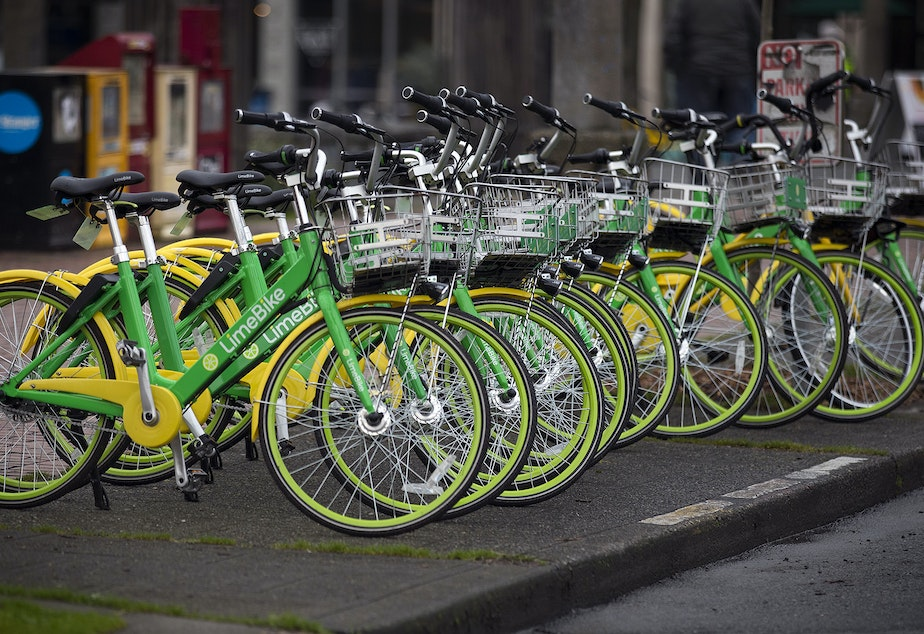 caption: Bike share bikes in Seattle