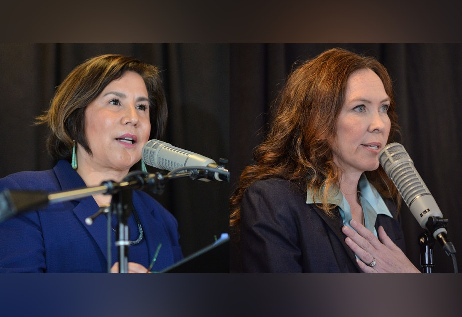 caption: Seattle City Councilmember Debora Juarez and challenger Ann Davison Sattler at the Seattle CityClub's District 5 debate in Greenwood on Saturday, Sept. 21, 2019.