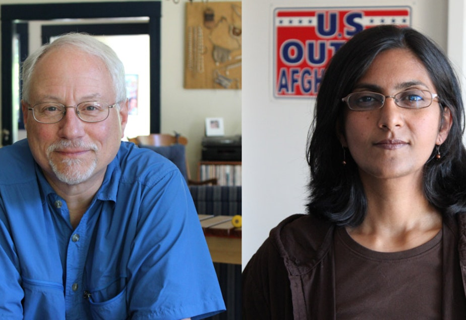 Seattle city councilmember Richard Conlin, left, is now losing to Kshama Sawant, right.