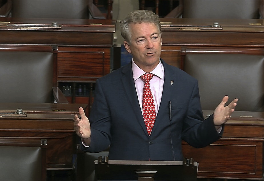 caption: In this image from video, Sen. Rand Paul, R-Ky., speaks on the Senate floor at the U.S. Capitol in Washington, D.C., on Wednesday. Paul announced Sunday that he had tested positive for the novel coronavirus.