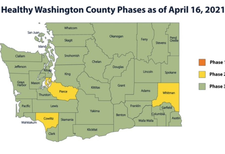 caption: Pierce, Cowlitz, and Whitman counties will be required to move back to Phase 2 of Washington state's phased reopening plan, Governor Jay Inslee announced on Monday, April 12, 2021.