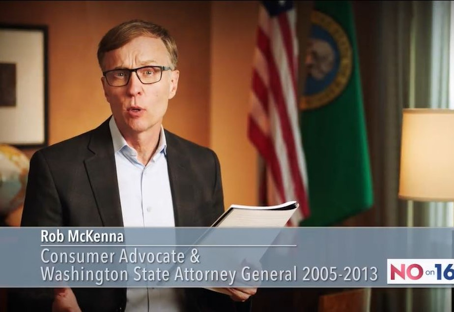 caption: Rob McKenna, former Washington Attorney General and current attorney for Chevron, in an anti-carbon-fee advertisement