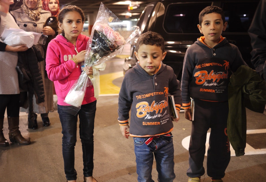 Syrian refugees arrive at Sea-Tac Airport in November, 2015